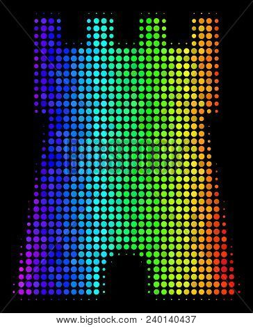 Dot Bright Halftone Bulwark Tower Icon Drawn With Spectrum Color Variations With Horizontal Gradient