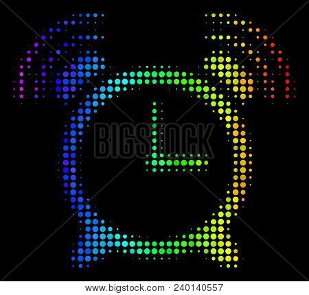 Dotted Impressive Halftone Buzzer Icon Drawn With Rainbow Color Hues With Horizontal Gradient On A B