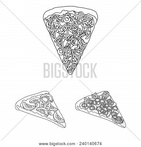 Different Pizza Outline Icons In Set Collection For Design.pizza Food Vector Symbol Stock  Illustrat