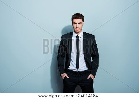 Portrait Of Stunning Classy Chic Cool Confident Serious Minded Focused Concentrated Young Boss Chief