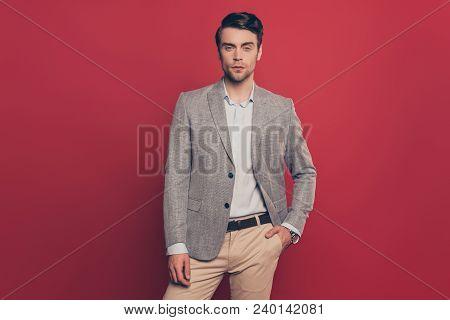 Portrait Of Stunning, Manly, Cool, Brutal, Virile, Harsh, Modern Man Holding Hand In Pocket Of Pants
