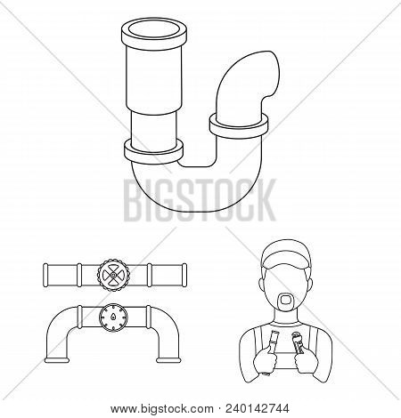 Plumbing, Fitting Outline Icons In Set Collection For Design. Equipment And Tools Vector Symbol Stoc