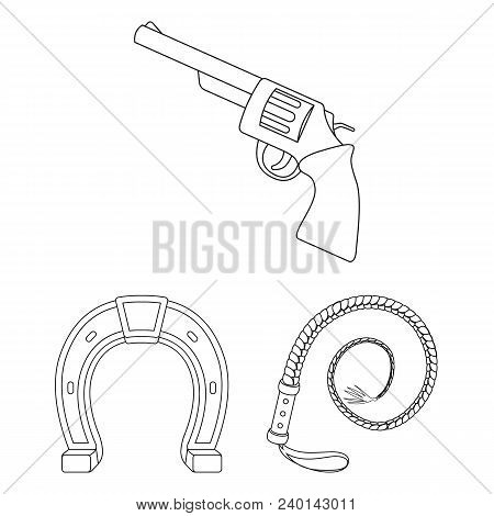 Rodeo, Competition Outline Icons In Set Collection For Design. Cowboy And Equipment Vector Symbol St