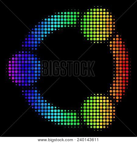 Dot Bright Halftone Cooperation Icon In Spectral Color Tones With Horizontal Gradient On A Black Bac