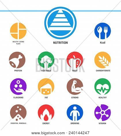 Nutrition And Healthy Icon Set Vector And Illustration