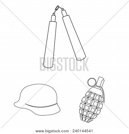 Types Of Weapons Outline Icons In Set Collection For Design.firearms And Bladed Weapons Vector Symbo