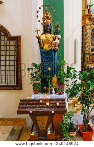France, Annecy - May 01, 2018:interior Of The Church With The Magnificent Statue Of The Black Madonn