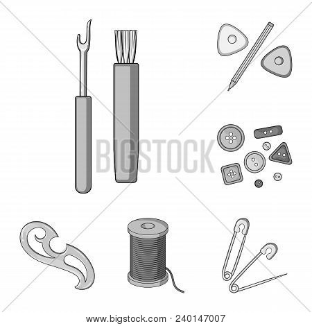 Sewing, Atelier Monochrome Icons In Set Collection For Design. Tool Kit Vector Symbol Stock  Illustr