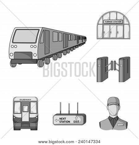 Metro, Subway Monochrome Icons In Set Collection For Design.urban Transport Vector Symbol Stock  Ill