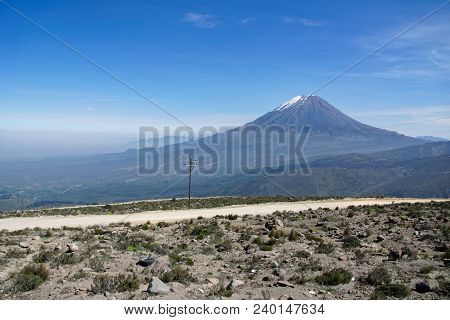 Misti Mountain Landscapes Arequipa Region South Of Peru