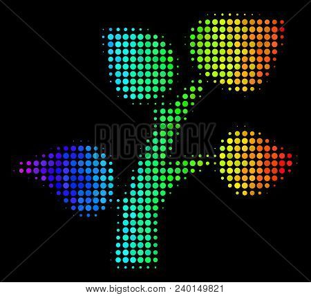 Dotted Bright Halftone Flora Plant Icon Using Rainbow Color Variations With Horizontal Gradient On A