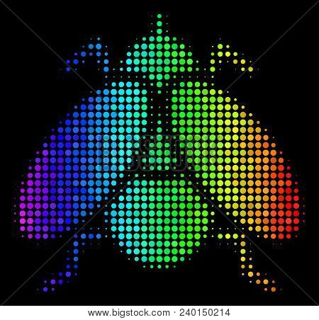 Dot Bright Halftone Fly Insect Icon Using Spectral Color Tinges With Horizontal Gradient On A Black