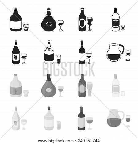 White Wine, Red Wine, Gin, Sangria.alcohol Set Collection Icons In Black, Monochrome Style Vector Sy