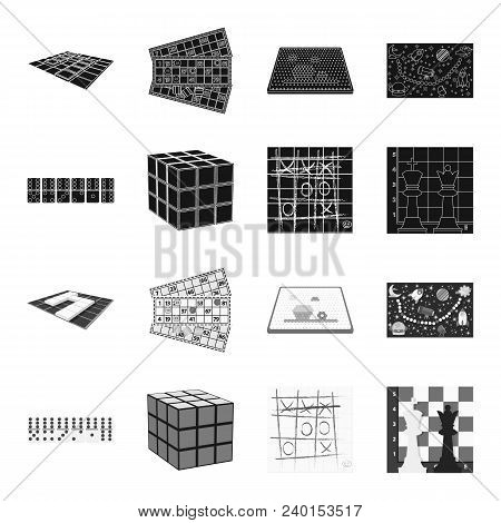 Board Game Black, Monochrome Icons In Set Collection For Design. Game And Entertainment Vector Symbo