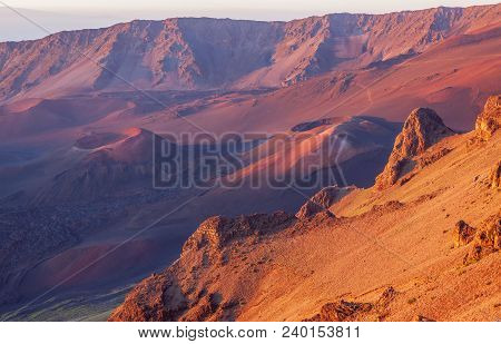 The Rugged Landscape Of The Haleakala Volcano Crater On The Island Of Maui