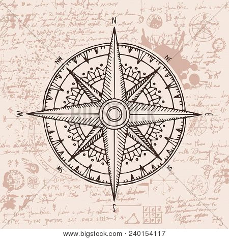 Hand-drawn Vector Banner With A Wind Rose And Old Nautical Compass In Retro Style. Illustration On T