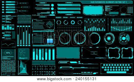 Hud Hologram Futuristic Elements Set Vector. Abstract Virtual Graphic For User Interface Control Pan