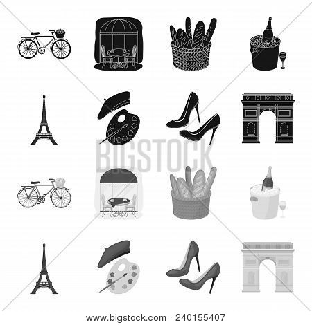 Eiffel Tower, Brush, Hat .france Country Set Collection Icons In Black, Monochrome Style Vector Symb