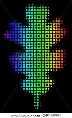 Pixelated Impressive Halftone Oak Leaf Icon In Spectral Color Hues With Horizontal Gradient On A Bla