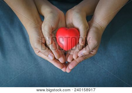 Hand Of Woman And Child Holding Red Heart. Concept Of Take Care And Family.