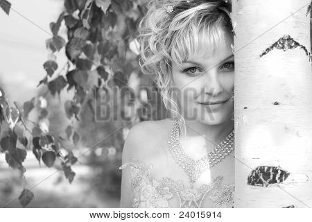 Portrait Beautiful Young Women By The Birch