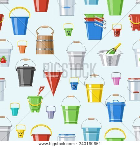 Bucket Vector Bucketful Or Wooden Pailful And Kids Plastic Pail For Playing Empty Or With Water Buck