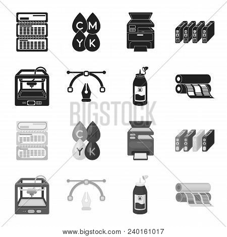3d Printer, Newspaper Printer, Ink, Pen. Typography Set Collection Icons In Black, Monochrome Style