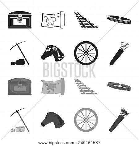 Pickax Hoe, Horse Head, Wheel Cart, Quiver With Arrows.wild West Set Collection Icons In Black, Mono