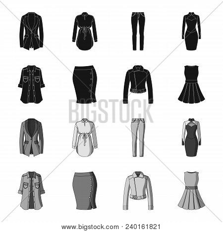 Women Clothing Black, Monochrome Icons In Set Collection For Design.clothing Varieties And Accessori