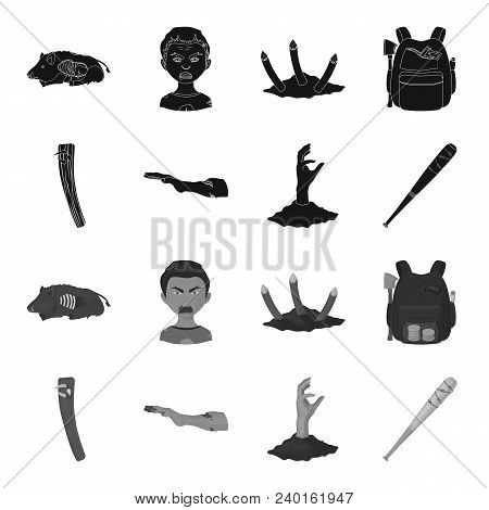 Zombies And Attributes Black, Monochrome Icons In Set Collection For Design. Dead Man Vector Symbol