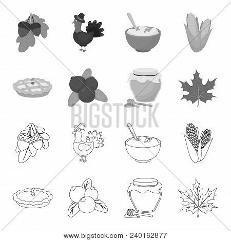 Cranberry, Pumpkin Pie, Honey Pot, Maple Leaf.canada Thanksgiving Day Set Collection Icons In Outlin