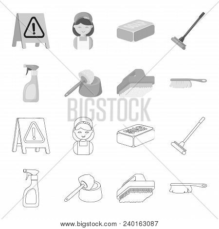 Cleaning And Maid Outline, Monochrome Icons In Set Collection For Design. Equipment For Cleaning Vec