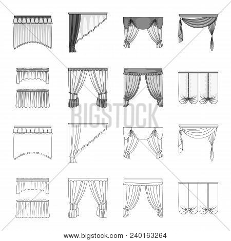 Different Types Of Window Curtains.curtains Set Collection Icons In Outline, Monochrome Style Vector