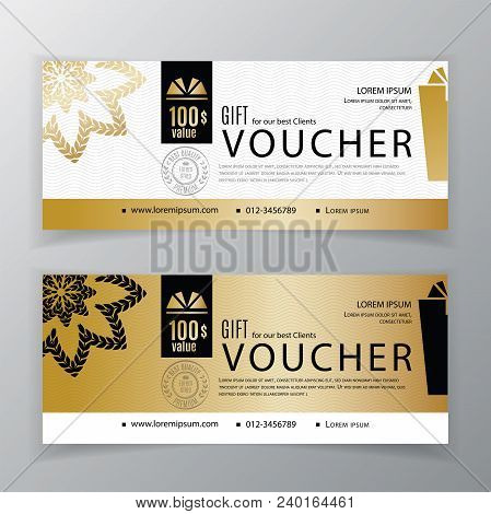 Gift Voucher Template. Universal Flyer For Business. Clean Vector Design, Black Gold Design Elements