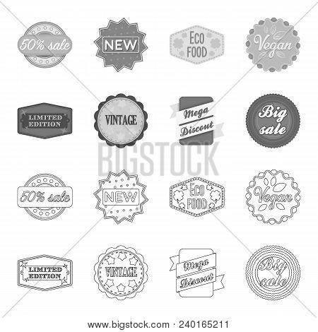 Limited Edition, Vintage, Mega Discont, Dig Sale.label, Set Collection Icons In Outline, Monochrome