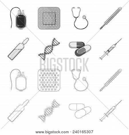 Human Dna And Other Equipment.medicine Set Collection Icons In Outline, Monochrome Style Vector Symb