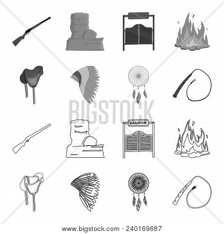 Saddle, Indian Mohawk, Whip, Dream Catcher.wild West Set Collection Icons In Outline, Monochrome Sty