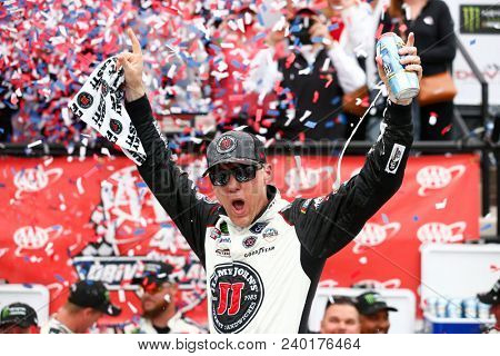 May 06, 2018 - Dover, Delaware, USA: Kevin Harvick (4) celebrates after taking the checkered flag and winning the AAA 400 Drive for Autism at Dover International Speedway in Dover, Delaware.