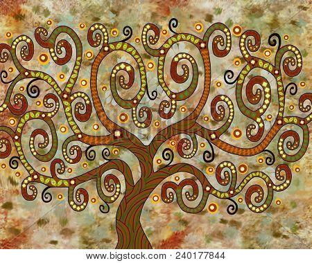 A Symbolic Fairy-tale Tree Of Unusual Color And Shape.fairy Tree.
