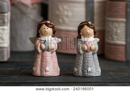 Ceramic Salt And Pepper Shaker Angel Trinkets On Wooden Background