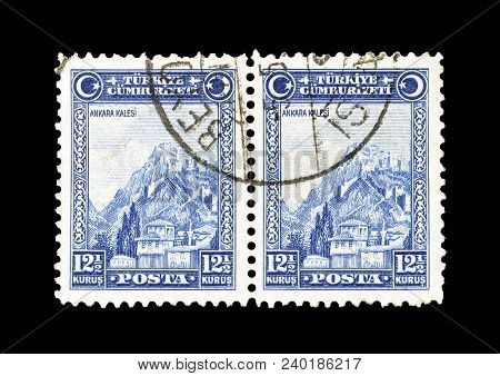 Turkey - Circa 1926 : Cancelled Postage Stamp Printed By Turkey, That Shows Fortress Of Ankara.