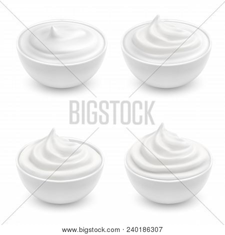 Vector Realistic Set Of White Bowls With Sour Cream, Mayonnaise, Yogurt, Sweet Dessert, Soft Cheese.