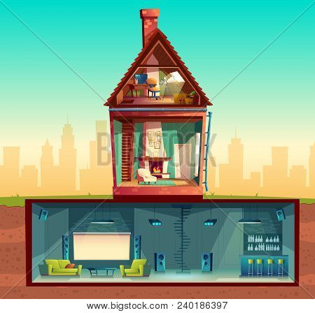Vector House Interior In Cross Section, Cartoon Living Room. Attic With Observatory. Basement With H