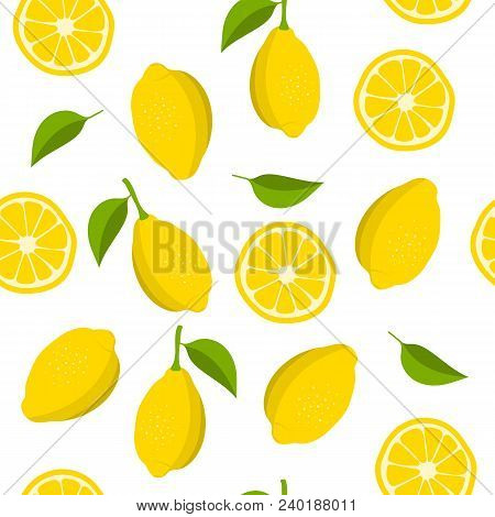 Lemon And Slices Of Lemon Pattern. Summer Background With Yellow Lemons. Vector Illustration.
