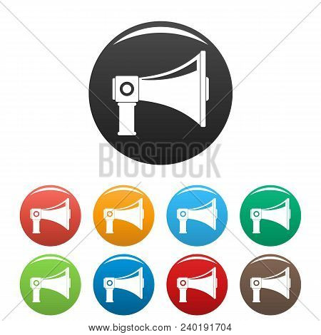 Single Megaphone Icon. Simple Illustration Of Single Megaphone Vector Icons Set Color Isolated On Wh