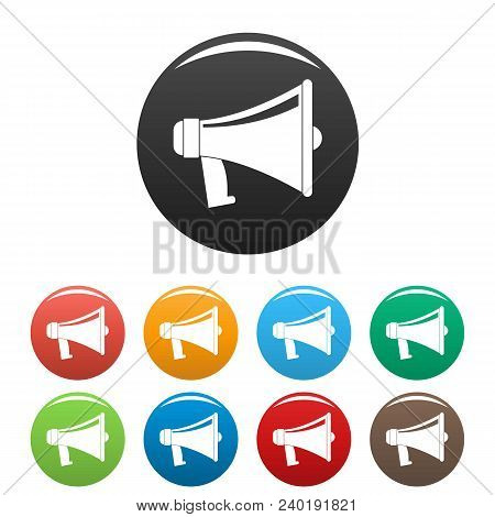Antique Megaphone Icon. Flat Illustration Of Antique Megaphone Vector Icons Set Color Isolated On Wh