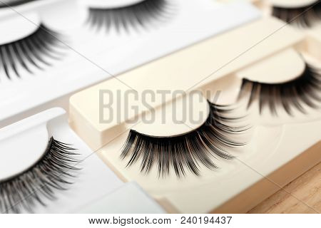 False Eyelashes In Pack On Table, Closeup