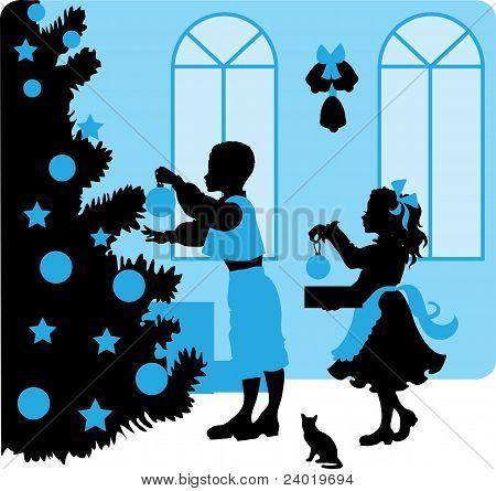 Christmas vector illustration kids silhouettes