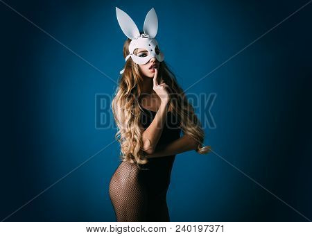 Easter Bunny Girl. Hot And Sexy Fashion Portrait Girl In Bunny Mask. Beautiful Seductive Woman In Se