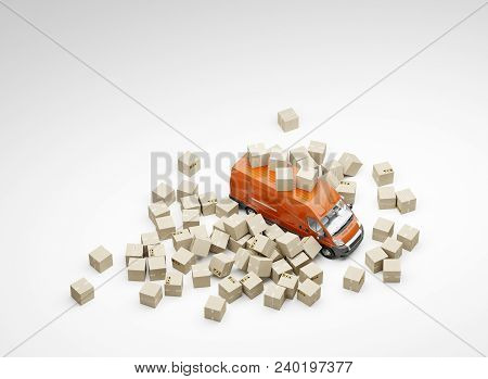 3d Illustration. Inaccurate Package Handling And Delivery. Heap Of Boxes And Red Van On White Backgr